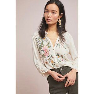 Anthropologie Tiny Embroidered Floral Blouse
